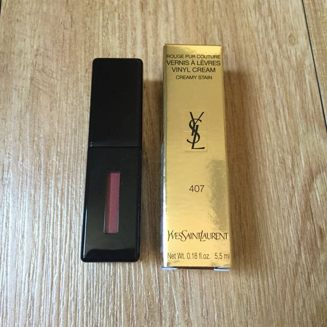 YSL 聖羅蘭 奢華緞面漆光唇釉 5.5ml 色號:N°407粉裸間奏 台灣專櫃正貨