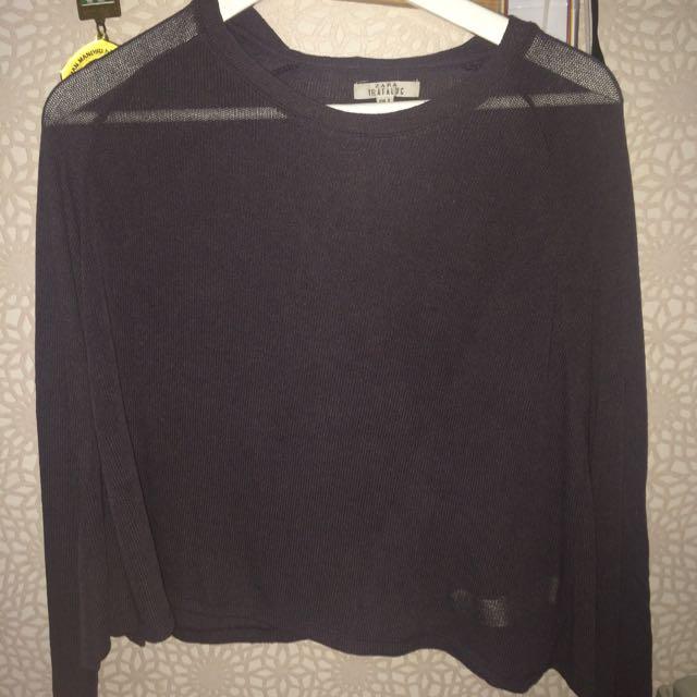 ZARA Grey Batwing Sleeves Top