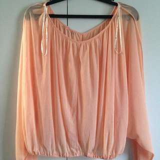 Peach Sheer Top With Cut Out In The Middle And Back