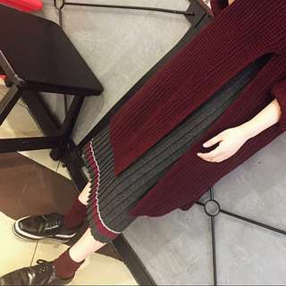 :::chic撞色條紋質感針織百褶高腰中長裙:::