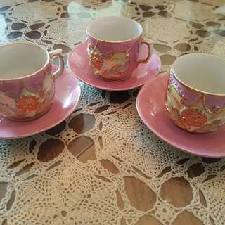 Antique Espresso Cups And Saucers Set Of 3