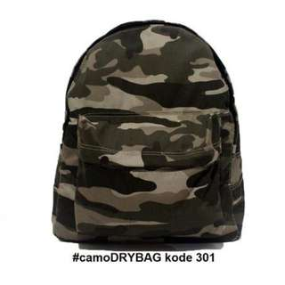 DryBag, Tas Ransel Backpack Camo Army Daypack Hard Cotton