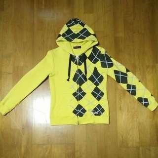 【$600免運】近全新 專櫃正品 EDWIN 女生 學院風 棉 連帽 外套---亮黃(S)