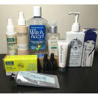Assorted Skincare and Hair Products: Facial Mist, Toner, Serum, Clay Mask, Tea Tree, Semi Permanent Dye