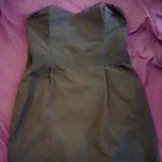 Black Zip Up Strapless Dress Size 14