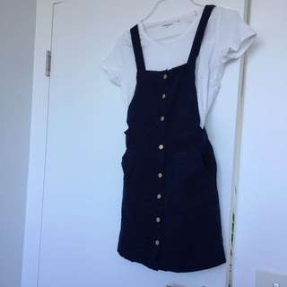 Cute Manchester Dress Button Up Navy Dark blue