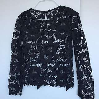 Blouse Lace Flowers Black Top Crochet Bohem