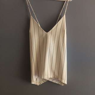 White Pin Stripe Summer Cami