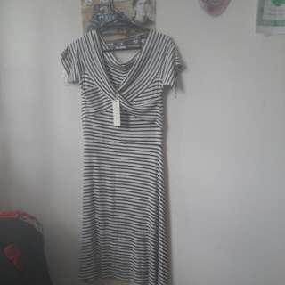 Black/blue Striped Dress