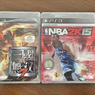 PS3 日文版三國無雙7、NBA2k15遊戲