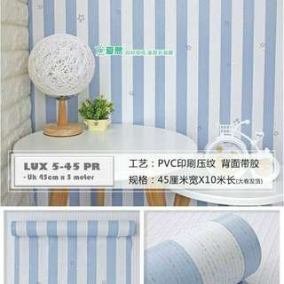 (PREMIUM QUALITY) Luxurious Wallpaper LUX 5-45 PR - Motif Garis/Salur Biru