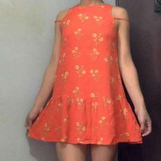 MINKPINK Orange Summer Dress With Peplum Bottom And Back Cut Out