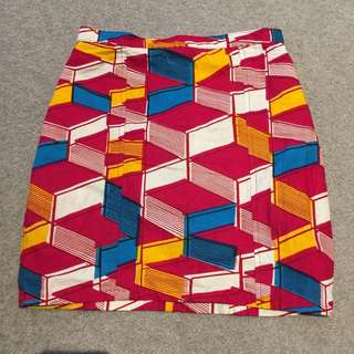 YEVU Clothing 2015 Mini Pencil Skirt Size S Geometric Print