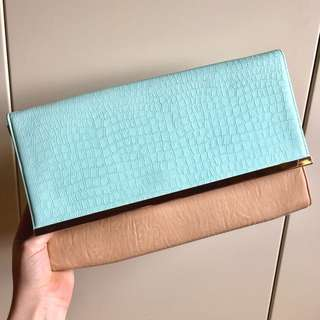 Colette Clutch Bag (Blue Turquoise Tan)