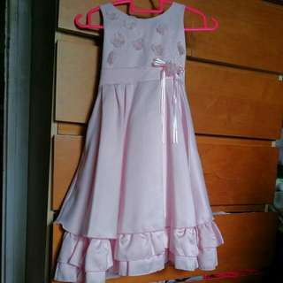 Baby Pink Satin Party Or Flowergirl Dress