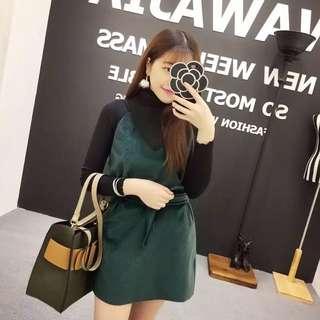 預購💡三色連身裙+高領上衣(咖/黑/綠)D191