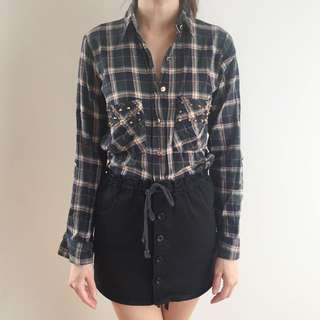 Chequered Shirt With Studs