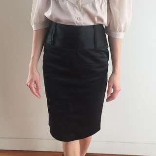 High Waist Midi Black Skirt