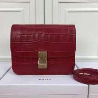 Celine Croc Box Bag (red)
