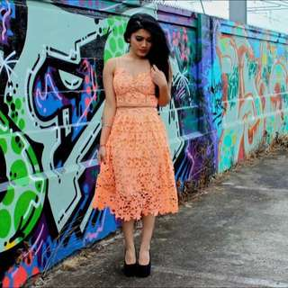 Peach Crop Top And Skirt