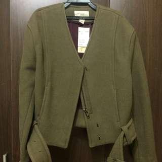 H&M墨綠羊毛混紡外套