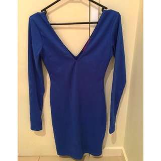 Boohoo Deep V Neck Blue Bodycon Dress