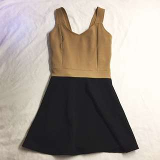 Cute Black Brown Backless Dress