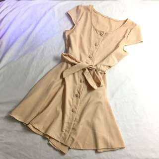 Cream Brown Cute Dress