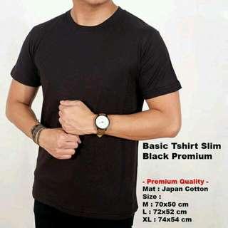 Kaos Tshirt Polos Hitam Premium