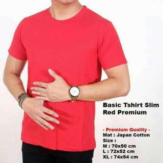 Tshirt Kaos Polos Merah Premium Import