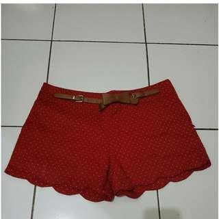 Red Polkadot Pants   Size L Kondisi Oke Selain Sabuknya Ada Deffect Sdkt (Sabuk Nempel)