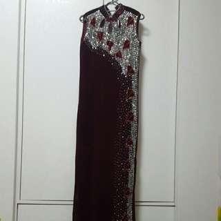 Qipao Gown (Wine Colour Velvet)