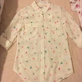 Marc Silk Flamingo Print Shirt Size 6