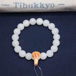 Tibukkyo 精品全玉化硨磲 10mm圓珠 108顆 非藥染天然透光 能清楚見硨磲紋理 佛珠手珠手串手環萬寶螺血硨磲