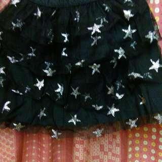 女童黑底銀色星星蓬紗裙