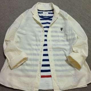 日本品牌 鵝黃色小樹刺繡小圓領長袖襯衫