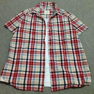 日本品牌 紅白格子短袖襯衫~