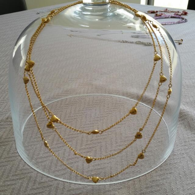3 Strand Necklace And Earring Heart Giftset, Goldtone