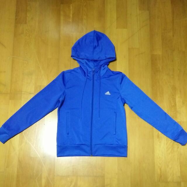 【$700免運】9成新 專櫃正品 ADIDAS 女生 運動 休閒 連帽 外套---寶藍(S)