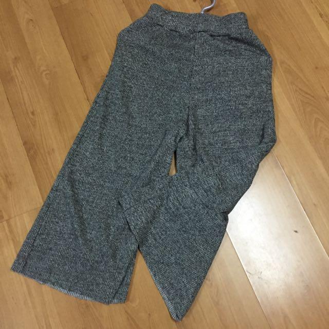 正韓毛呢灰色8分寬褲