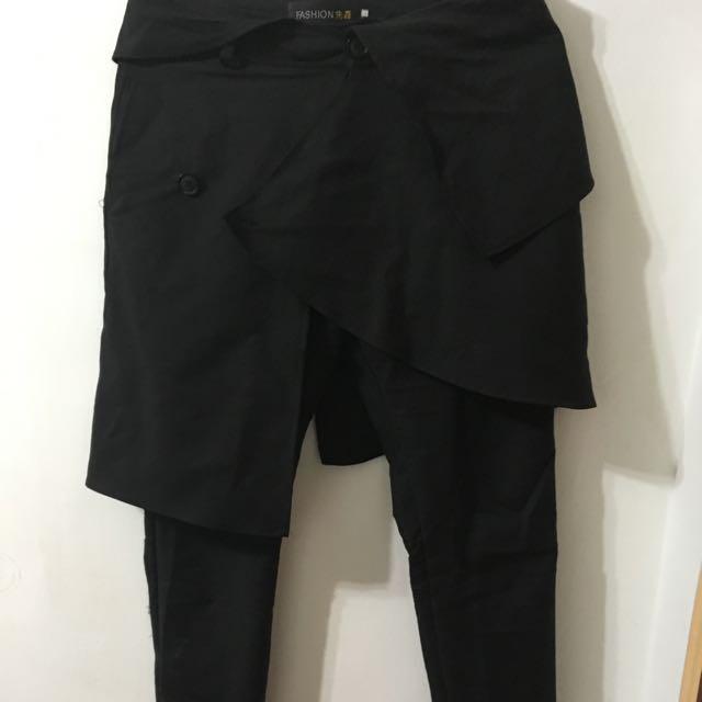 特殊剪裁彈性修身褲