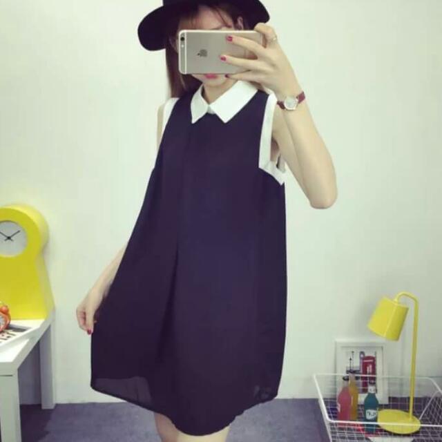 韓版百搭無袖顯瘦洋裝
