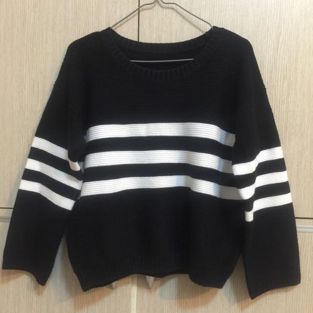 *降價*黑白條紋針織毛衣 #一百元上衣