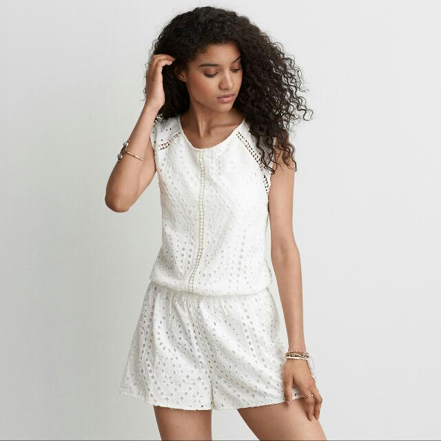 American Eagle White Cutout Jumpsuit Playsuit Summer New XS