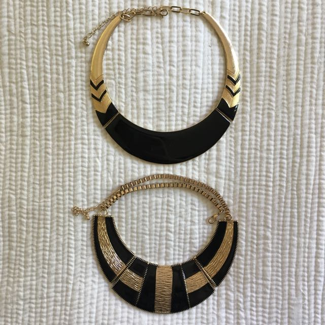 Black And Gold Statement Necklaces