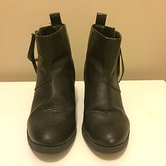 F21 Black Ankle Boots