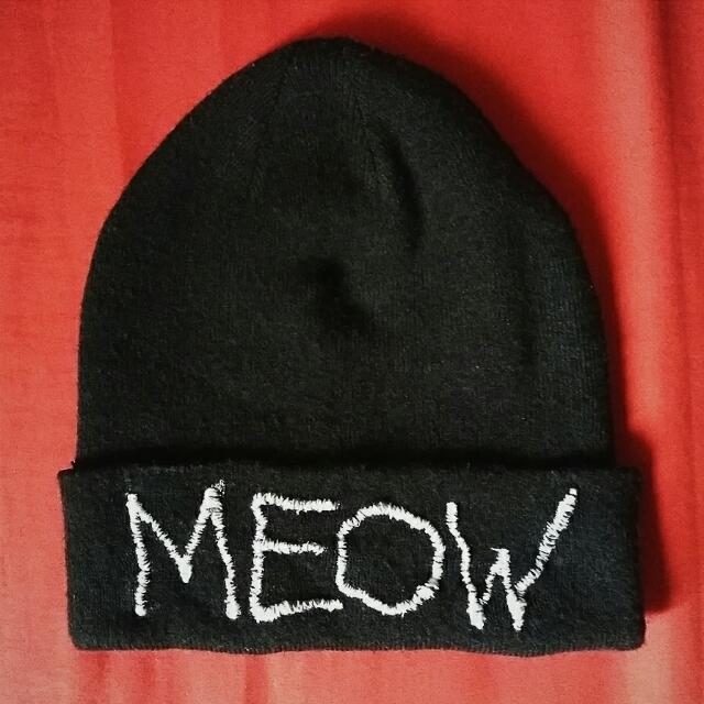 Black Hand-sewed MEOW Beanie