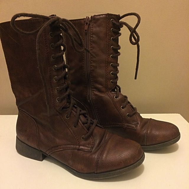 F21 Brown Combat Boots