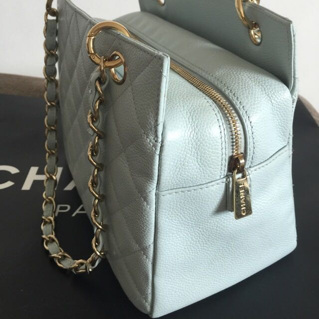 b6be395eca51 Chanel Petite Timeless Tote Light Blue GHW Caviar Leather, Luxury, Bags &  Wallets on Carousell