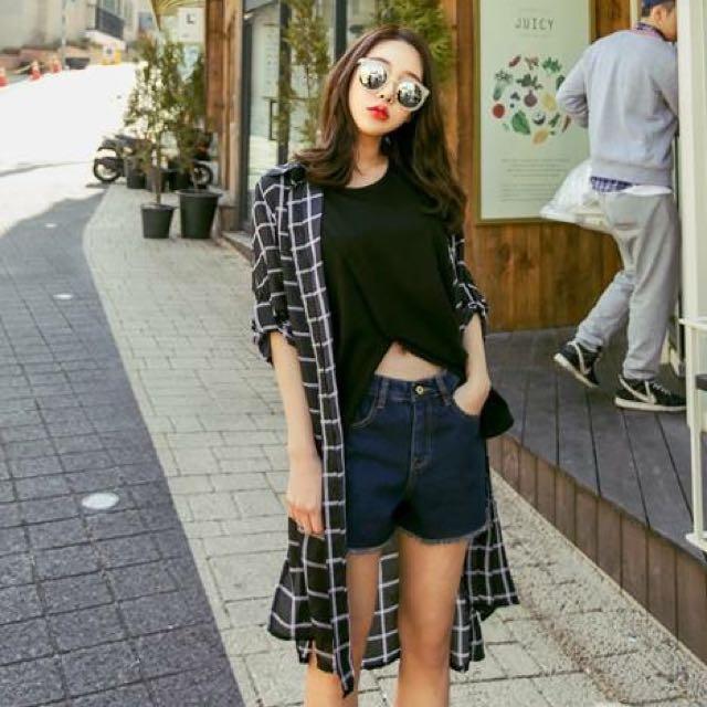CHI x KOREA捲邊深藍牛仔短褲